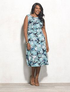 7c55c31ae31 Plus Size Blue Floral Print Dress