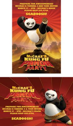 Kung Fu Panda Custom Birthday Party Invitations on Ebay.