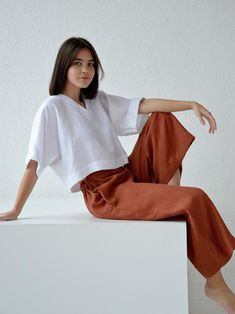 Linen pants / Culottes linen pants / Terracotta linen culottes pants / Loose pants / Midi flared linen pants / Soft linen trousers – Best Of Likes Share Mode Outfits, Fashion Outfits, Womens Fashion, Fashion Tips, Fashion Trends, Fashion Hacks, Fashion Ideas, Fashion Websites, Fashion Stores