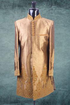 #Gold raw #silk Applique worked Indo-western #Sherwani -IW179