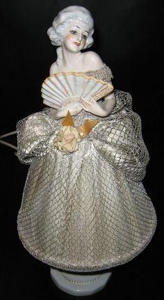Vintage French Porcelain Half Doll Boudoir Lamp