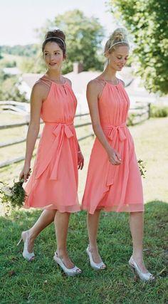 David's Bridal coral boho short bridesmaid dresses