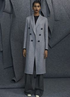 Celine Classic Coat in Light Grey Double Face Cashmere