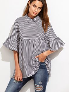 Online shopping for Black And White Striped Ruffle Sleeve Babydoll Top from a great selection of women's fashion clothing & more at MakeMeChic.COM.