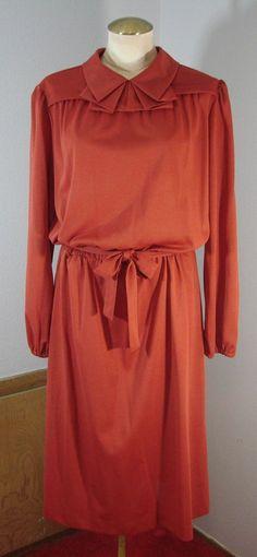 Vintage 70s Terra Cotta Long Sleeve secretary by TheScarletMonkey