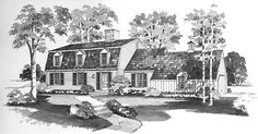Eplans Cape Cod House Plan - Reliable Comfort - 2152 Square Feet and 4 Bedrooms from Eplans - House Plan Code Colonial House Plans, Dutch Colonial, New House Plans, House Floor Plans, Colonial Exterior, New England Homes, Gambrel, Modern Farmhouse Plans, Homes
