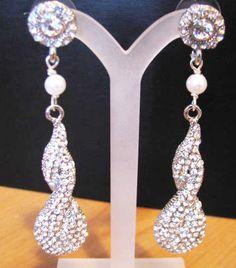 Rhinestone White pearl  Earring Drops Bridal by weddingswithflair