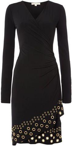 Michael Kors Wrap dress with grommet hem #dress #black #lbd -$39.9 for gift.
