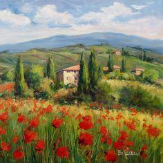 Italienische Malerei blühenden Tal Panorama Tuscany von Modiarte
