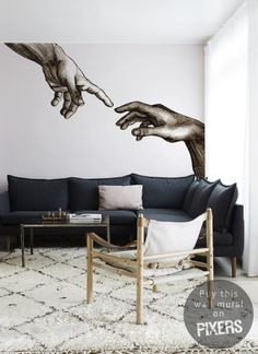 ,.The biblical theme based on Michelangelo's fresco, mural for art lovers