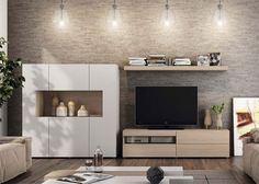 Modern Wall Storage System with Cabinet- TV Unit and Wall Shelf Interior Modern, Interior Design, Wall Storage Systems, Tv Unit Design, Small Living, Living Modern, Natural Living, Italian Furniture, Modern Wall