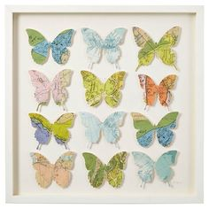 Cut Vintage Map Butterfly Collage