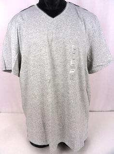 NWT Calvin Klein Mens XL Pima V-Neck T-Shirt SS Light Heather Gray Logo On Chest #CalvinKlein #VNeck