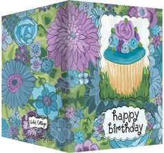 Happy Birthday card with purple floral design and vanilla cupcake  Blank inside.  Available wholesale or retail:  http://www.violetcottage.com/birthday/19-happy-birthday-card-blank-inside-purple-blue-flowers-cupcake.html