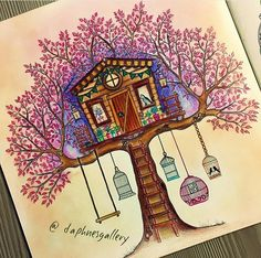 Treehouse in the secret garden. Johanna Basford - Treehouse in the Secret Garden Coloring Book, Secret Garden Book, Johanna Basford Secret Garden, Johanna Basford Coloring Book, Garden Drawing, Polychromos, Colorful Garden, Coloring Book Pages, Amazing Gardens