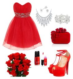 """Red love"" by arfamalik223 on Polyvore featuring Dorothy Perkins, Christian Louboutin, Jimmy Choo, M&Co, Bling Jewelry and Amanda Rose Collection"