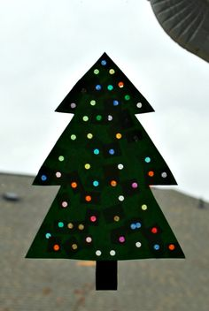 """paper """"lighted"""" Christmas tree craft for kids"""
