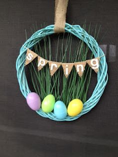 My first spring wreath. Made from all Dollar Tree products and a little spray paint!