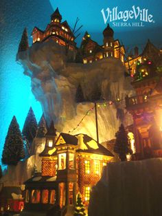 Vertical Christmas Snow Village Layout Display - Hot Wire Foam Factory Pictures and easy how-to information to maximize space with a vertical Christmas village display. Epic heights and steep cliffs, carved with Hot Wire Foam Factory tools. Halloween Village Display, White Christmas Trees, Christmas Village Display, Christmas Town, Christmas Villages, Christmas Mantles, Victorian Christmas, Christmas Christmas, Vintage Christmas