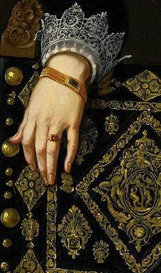 Cornelis de Vos, Portrait of a Lady in elegant Dress, detail