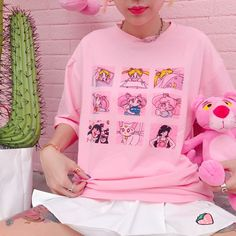 Sailor moon grid japanese text kawaii anime magic girl tee t shirt by Shy Lolita Harajuku Fashion, Kawaii Fashion, Cute Fashion, Fashion Women, Sailor Moon Shirt, Sailor Moon Clothes, Sailor Moon Outfit, Filles Alternatives, Sweatshirts