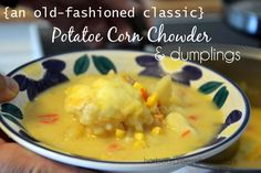 This potato soup and dumplings recipe is an old-fashioned classic straight out of Grandma's recipe box! It's a delicious comfort food soup! Old Fashioned Dumplings Recipe, Dumpling Recipe, Drop Dumplings, Hot Soup, Corn Chowder, Saute Onions, Potato Soup, Soups And Stews, Potatoes