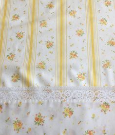 vintage springmaid percale floral double full flat sheet yellow stripes orange yellow flowers white lace trim