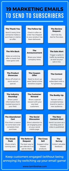 19 Types of Marketing Emails (With Examples!) To Send Your Customers - Sales Email - Ideas of Sales Email #salesemail #email #sales -   Write powerful emails that engage customers and promote sales for your business with these 19 email ideas!