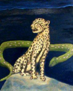 """""""Leopardo y Sierpe"""" Oleo / canvas. Artista : Carlos Osorio Granado"""