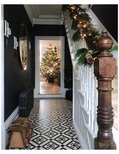 Victorian Hallway Tiles, Edwardian Hallway, Tiled Hallway, Edwardian House, Modern Hallway, Victorian Flooring, Victorian Stairs, Modern Staircase, Entrance Hall Decor