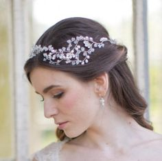 Grace Grande Headdress. Pearl and Swarovski crystal tendrils sweeping round both sides of the head.