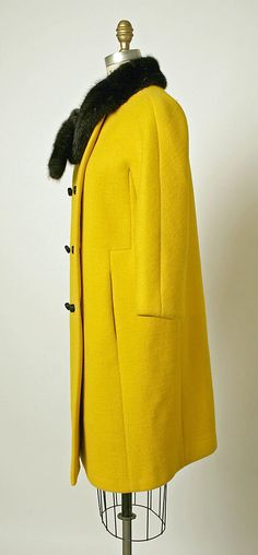 Coat.  House of Balenciaga  (French, founded 1937).  Designer: Cristobal Balenciaga (Spanish, 1895–1972). Date: fall/winter 1967–68. Culture: French. Medium: wool, fur. Dimensions: Length at CB: 38 1/2 in. (97.8 cm).