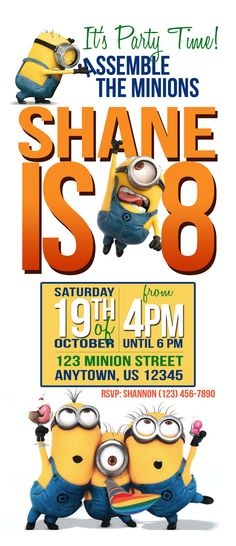 Hey, I found this really awesome Etsy listing at https://www.etsy.com/listing/165477211/minions-birthday-party-invitation