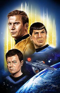 冷凍バナナワカモレ, tos-fanart: Classic Star Trek Big 3 by Lawrence. Star Trek Tv Series, Star Trek Original Series, Star Wars, Star Trek Tos, Caricatures, Science Fiction, Deep Space Nine, Star Trek Wallpaper, Star Trek Crew