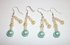 2 sets Bridesmaid Earrings, Classic Cream Turquoise Glass Pearl Earrings, Wedding,Bridesmaid, Mother Of The Bride, Present, Gift #4 by ElizabettaJewellery on Etsy