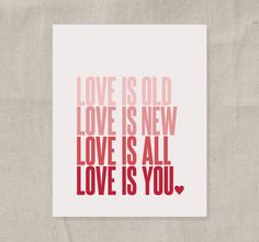 Beatles Quote Art Print (Pink Ombre) - Wedding Valentine Baby Girl Nursery -  Love Is Old Love Is New Love Is All Love Is You 8x10 #pinhonest