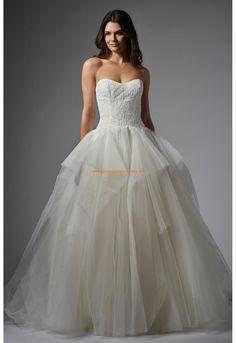 Robe de mariée bustier avec col en coeur dentelle tulle