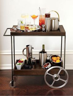 Home Bar Ideas for Your Cozy Home: Wooden Bar Cart ~ cuhosted.com Ideas Inspiration