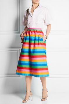 Valentino|Striped cotton and silk-blend canvas skirt|NET-A-PORTER.COM