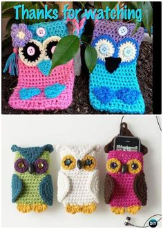 Crochet Phone Case DIY Crochet Owl Phone Cases Free Pattern-Crochet Owl Ideas Free Patterns - Easy Crochet Owl Free Patterns for Beginners: Basic crochet owl appliques to make coasters, purse, bags, keychains and more that we can finish in an hour. Diy Crochet Owl, Crochet Owl Applique, Owl Crochet Pattern Free, Crochet Crafts, Free Crochet, Free Pattern, Crochet Ideas, Owl Phone Cases, Diy Phone Case