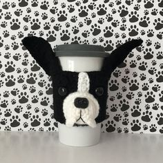 Boston Terrier Gifts - Boston Terrier Mug Cozy - Pet Products - Crazy Dog Lady - Dog Lover Gift - Pet Mom - Dog Mom Gift - Hooked by Angel