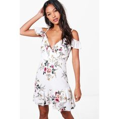 Boohoo Aliah Floral Cold Shoulder Frill Hem Dress ($40) ❤ liked on Polyvore featuring dresses, body con dress, maxi dresses, cold shoulder maxi dress, white skater dress and floral maxi dress