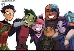 Robin, Beastboy, Jinx, Cyborg, Gizmo and Raven
