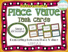 Place Value Task Cards { Converting between Place Values } The first set of cards has students converting only between the nearest values up to one million. (Example: 2 tens = ____ ones)   The second set of cards has students converting between two or three values up to the millions. (Example: 5 hundred thousands = ____ tens)$