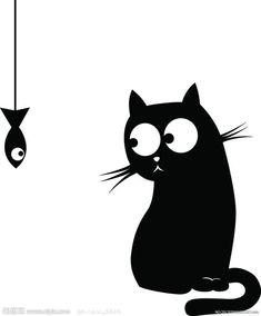 Images Kawaii, Pottery Painting Designs, Shadow Art, Cat Silhouette, Cat Drawing, Rock Art, Cat Art, Doodle Art, Painted Rocks