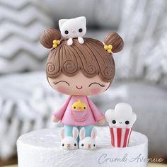 Fondant Cake Toppers, Fondant Figures, Birthday Cake Toppers, Fondant Cat, Geek Birthday, Fondant Cupcakes, Cupcake Toppers, Birthday Cakes, Cute Polymer Clay