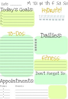 Daily to do list. Organization