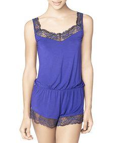 48dbed00ffb3 intiMINT Blue Lace-Trim Romper - Women