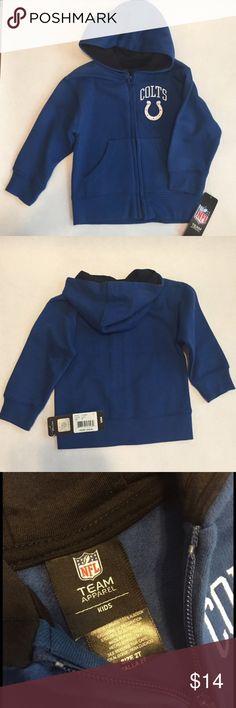 Toddler Colts Hooded Sweatshirt Hooded zip-up Blue Colts sweatshirt jacket. Official NFL TEAM APPAREL. Hood lined in black. 02-16-23-0850-24-21-10 NFL TEAM APPAREL Jackets & Coats