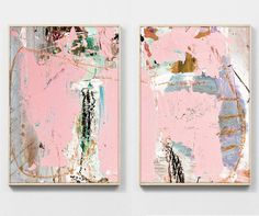 Abstract Art Print Set Printable Abstract Art by DanHobdayArt Colorful Abstract Art, Contemporary Abstract Art, Abstract Print, Pink Wall Art, Illustration, Cool Paintings, Large Art, Fine Art Paper, Bunt